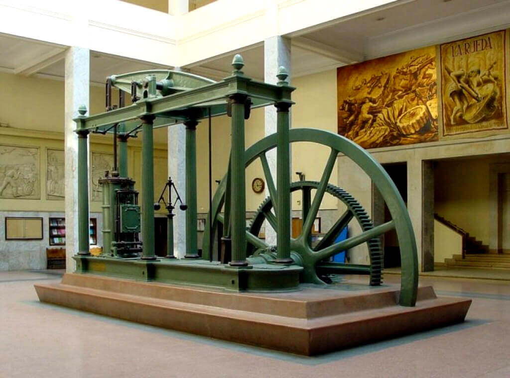 A Watt steam engine from the beginning of industrialization