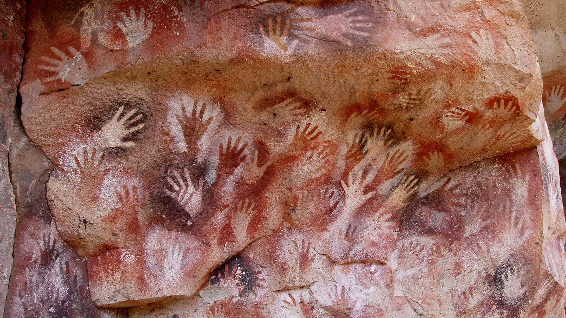 Prehistoric hand stencils, Cueva de las Manos in Argentina