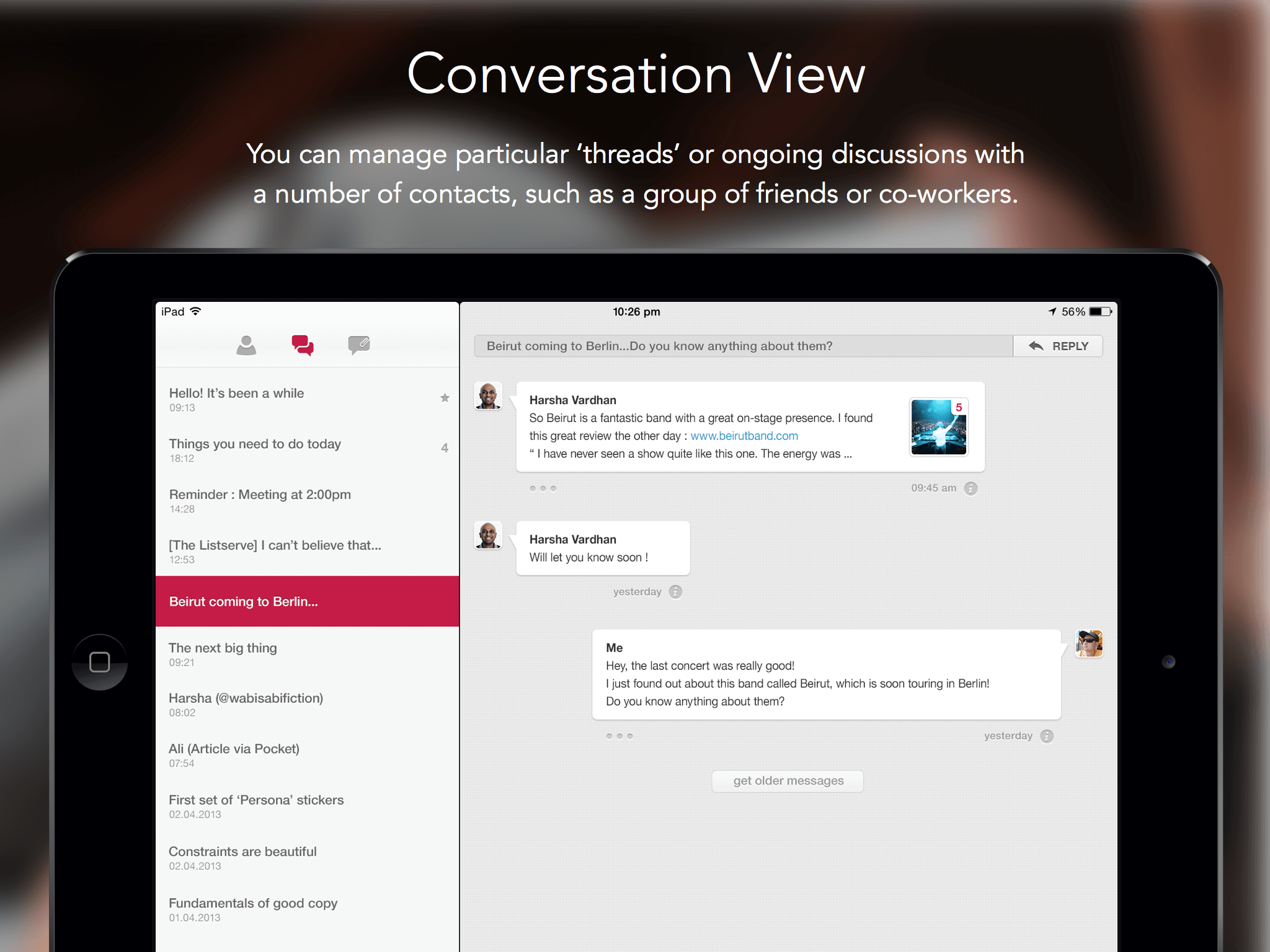 Persona Email Client Conversation View