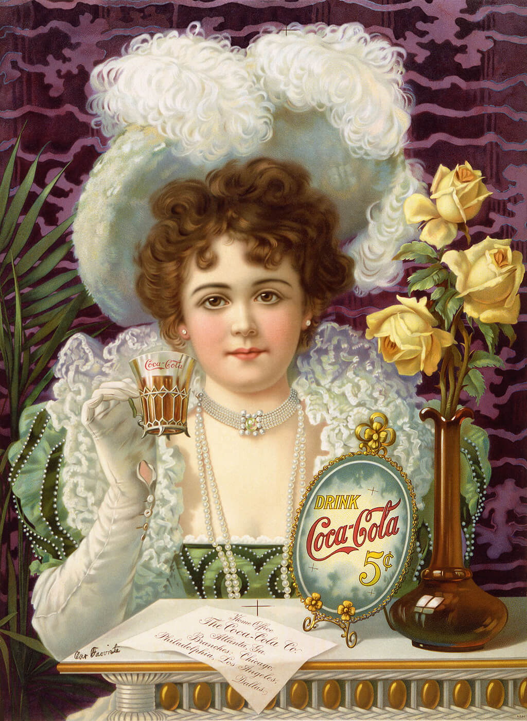 """Drink Coca-Cola 5¢"", an 1890s advertising poster showing a woman in fancy clothes (partially vaguely influenced by 16th- and 17th-century styles) drinking Coke."